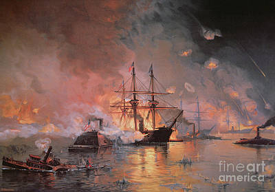Flaming Painting - Capture Of New Orleans By Union Flag Officer David G Farragut by Julian Oliver Davidson