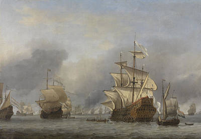 Of Pirate Ships Painting - Capture Of The Royal Prince by Willem Van De Velde The Younger