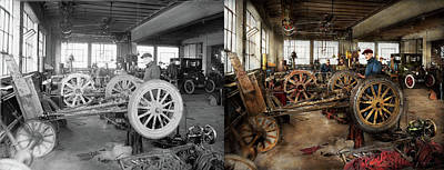 1923 Ford Model T Photograph - Car - Garage - Blue Collar Work 1923 - Side By Side by Mike Savad