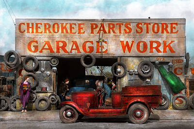 Ford Roadster Photograph - Car - Garage - Cherokee Parts Store - 1936 by Mike Savad