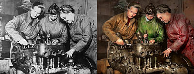 Stereotype Photograph - Car Mechanic - In A Mothers Care 1900 - Side By Side by Mike Savad