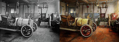 Car Photograph - Car Mechanic - The Overhaul 1915 - Side By Side by Mike Savad