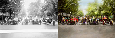 Police Art Photograph - Car - Race - Hold On To Your Hats 1915 - Side By Side by Mike Savad