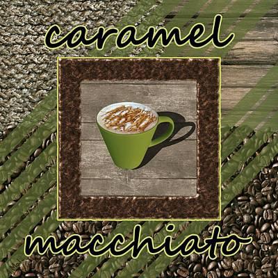 Caramel Macchiato - Coffee Art - Green Print by Anastasiya Malakhova