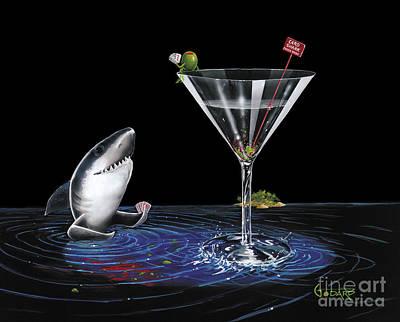 Shark Painting - Card Shark by Michael Godard