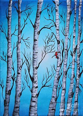 Cardinal And Birch Trees Print by Barbara Griffin