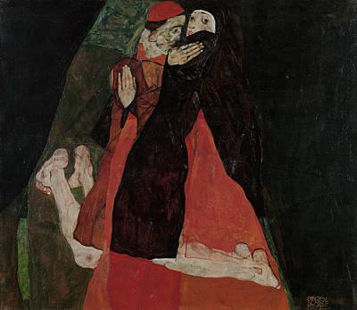 Nuns Painting - Cardinal And Nun  by Egon Schiele