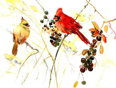 Cardinal Drawing - Cardinal Birds And Berries by Suren Nersisyan