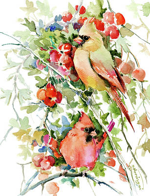 Cardinal Drawing - Cardinal Birds And Hawthorn by Suren Nersisyan