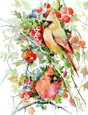 Cardinal Birds And Hawthorn Print by Suren Nersisyan