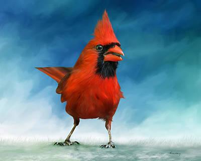 Liberte Painting - Cardinal by Johanne Dauphinais
