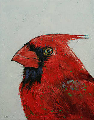 Impasto Oil Painting - Cardinal by Michael Creese