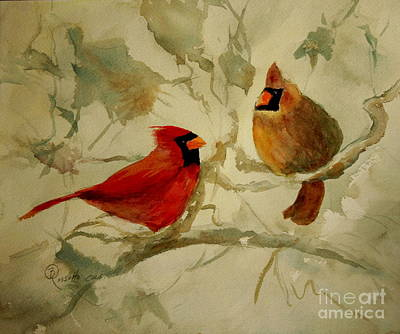 Cardinals In Watercolor Painting - Cardinal Pair Crop 24 X 20 by B Rossitto