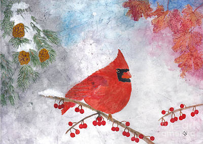 Cardinals In Watercolor Painting - Cardinal With Red Berries And Pine Cones by Conni Schaftenaar