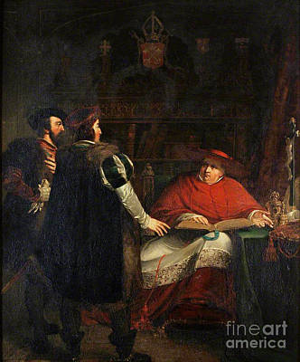 Cardinal Wolsey Refusing To Deliver Print by Daniel Maclise