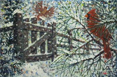 Snow Scene Painting - Cardinals I I / Garden Gate by Jim Rehlin