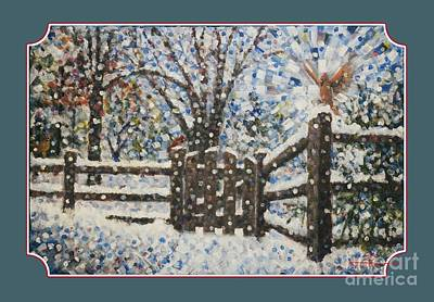 Winter Scene Painting - Cardinals Ill Garden Gate Il Clothing by Jim Rehlin