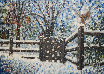 Snow Scene Painting - Cardinals Ill / Holidays 4 by Jim Rehlin
