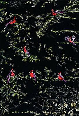 Scratchboard Painting - Cardinals by Robert Goudreau