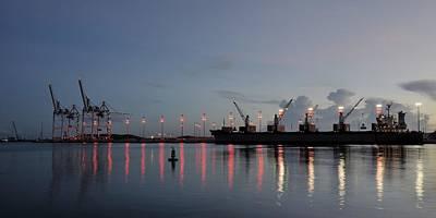 Grapple Photograph - Cargo Port At Dawn by Bradford Martin