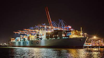Night Photograph - Cargo Ship At Night by Daniel Heine
