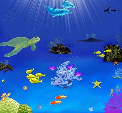 Ocean Turtle Digital Art - Caribbean Blue by Tanya Van Gorder