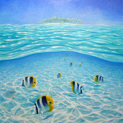 Striped Butterfly Painting - Caribbean Island Dream by Gill Bustamante