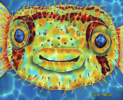Silk Painting - Caribbean Puffer Fish by Daniel Jean-Baptiste