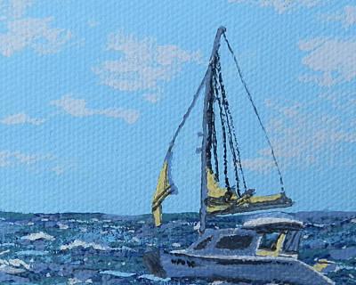 Caribbean Sailboat Print by Margaret Brooks