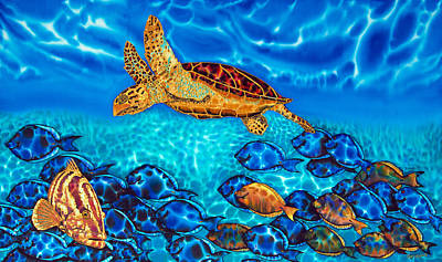 Fish Painting - Caribbean Sea  Turtle And Reef  Fish by Daniel Jean-Baptiste