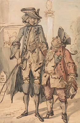 18th Century Painting - Caricature Of George Bubb Dodington And Sir Thomas Robinson by Paul Sandby