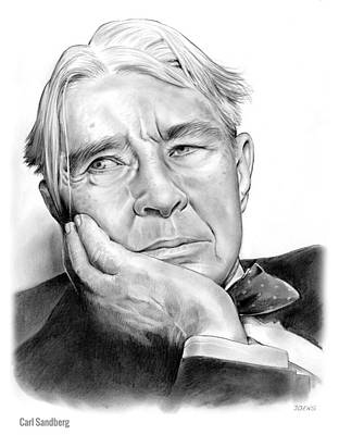 Lincoln Drawing - Carl Sandberg by Greg Joens