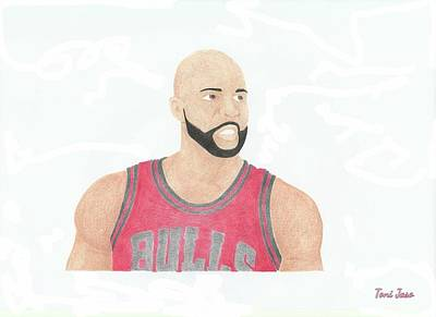 La Lakers Drawing - Carlos Boozer by Toni Jaso