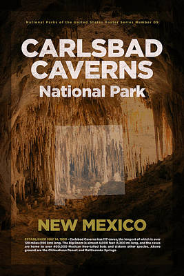 National Parks Mixed Media - Carlsbad Caverns National Park In New Mexico Travel Poster Series Of National Parks Number 09 by Design Turnpike