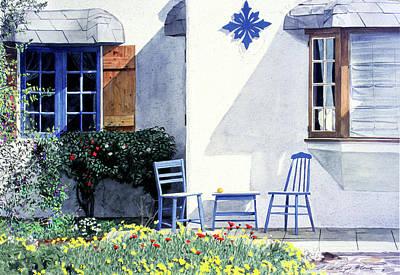 Carmel Cottage With Orange Print by David Lloyd Glover