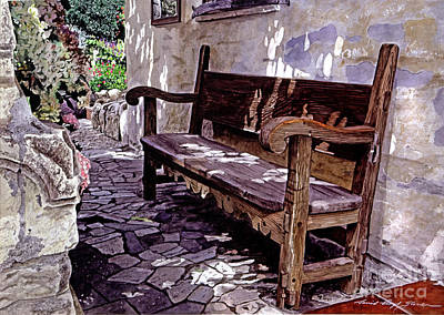 Carmel Mission Bench Print by David Lloyd Glover