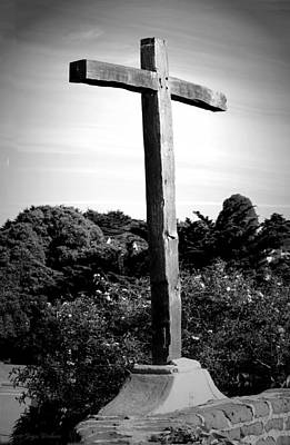 Photograph - Carmel Mission Cross B And W by Joyce Dickens