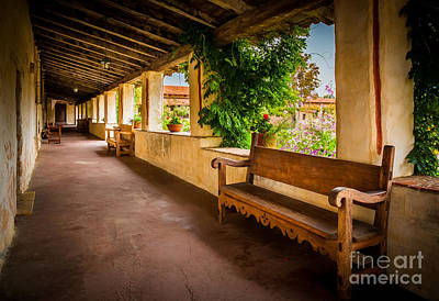 United States Mission Church Photograph - Carmel Mission Hallway by Inge Johnsson