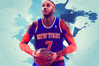 Carmelo Anthony Print by Semih Yurdabak