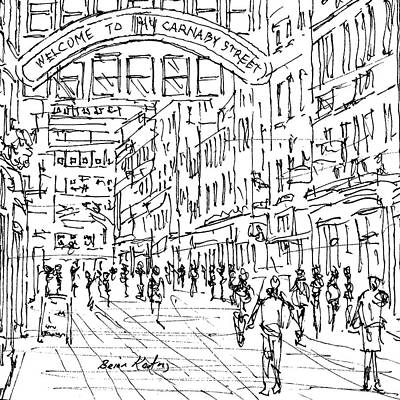 London Skyline Drawing - Carnaby St. London by Brian Keating