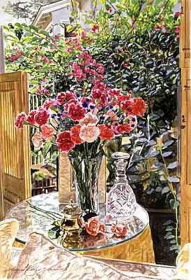 Carnation Painting - Carnations In The Window by David Lloyd Glover