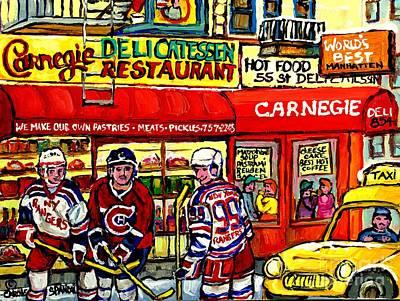Montreal Canadiens Painting - Carnegie Deli Manhattan Winter City Scene Painting New York Rangers Meet Montreal Canadiens Hockey  by Carole Spandau