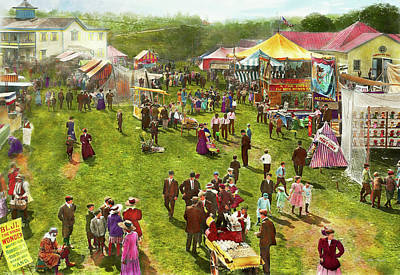 Carnival - Summer At The Carnival 1900 Print by Mike Savad