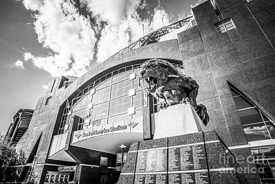 Carolina Panthers Stadium Black And White Photo Print by Paul Velgos