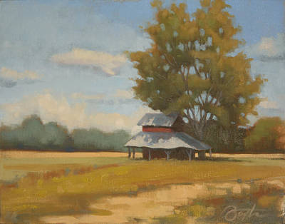 Farm Fields Painting - Carolina Tobacco Barn by Todd Baxter