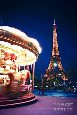 Carousel And Eiffel Tower Print by Elena Elisseeva