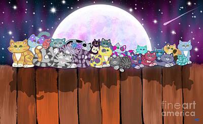 Digital Art - Carousing Cats by Nick Gustafson