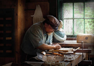 Window Bench Photograph - Carpenter - Carving The Figurehead  by Mike Savad