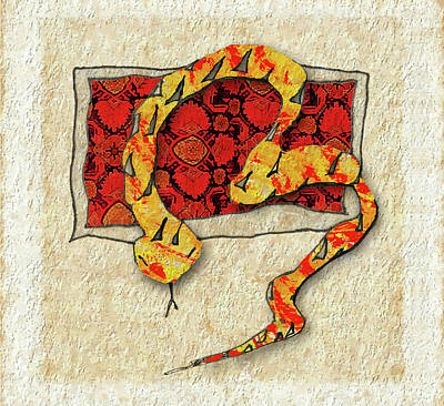 Viper Drawing - Carpet Snake II by John Pullicino