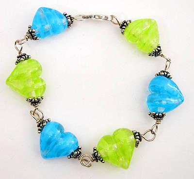 Sterling Silver Bracelet Glass Art - Carribean Ribbon Heart by Rachel Goetz